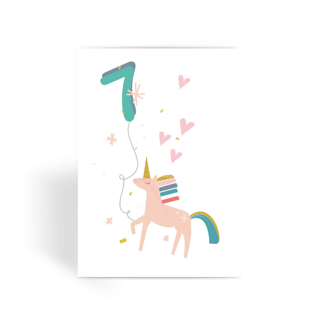 Unicorn Birthday Card With Number Balloon Age 7