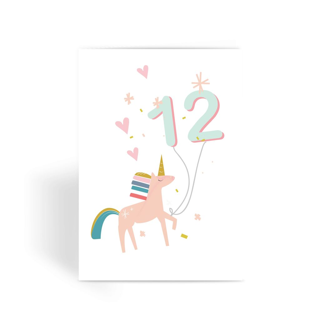 Unicorn Birthday Card With Number Balloon Age 12