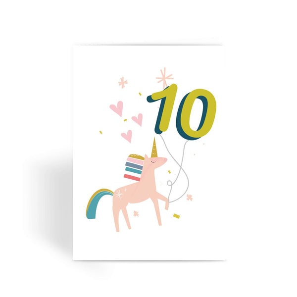 Unicorn Birthday Card With Number Balloon Age 10