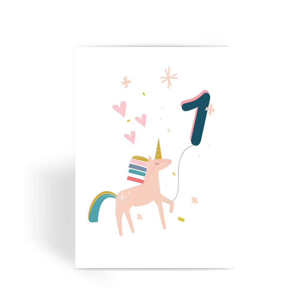 Unicorn Birthday Card With Number Balloon Age 1