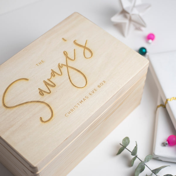 Family Personalised Wooden Chrismas Eve Box.