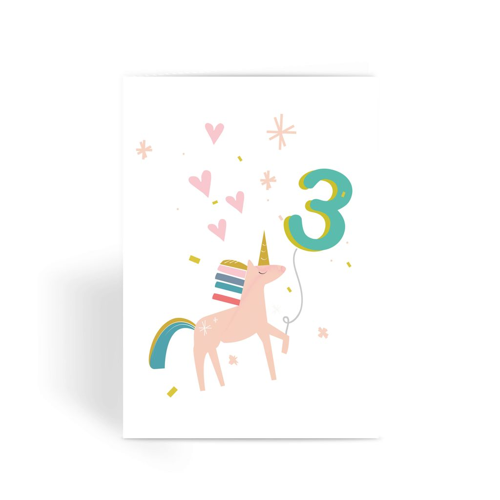 Unicorn Birthday Card With Number Balloon Age 3