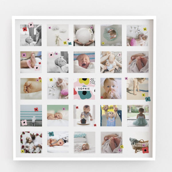 'The Sophie' Framed Baby Girls Instagram Style Montage With Ditsy Florals