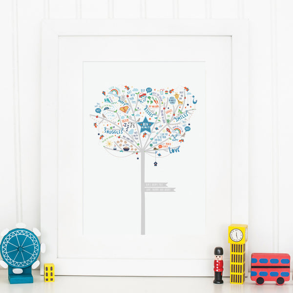Baby Boy Happiness Tree Print