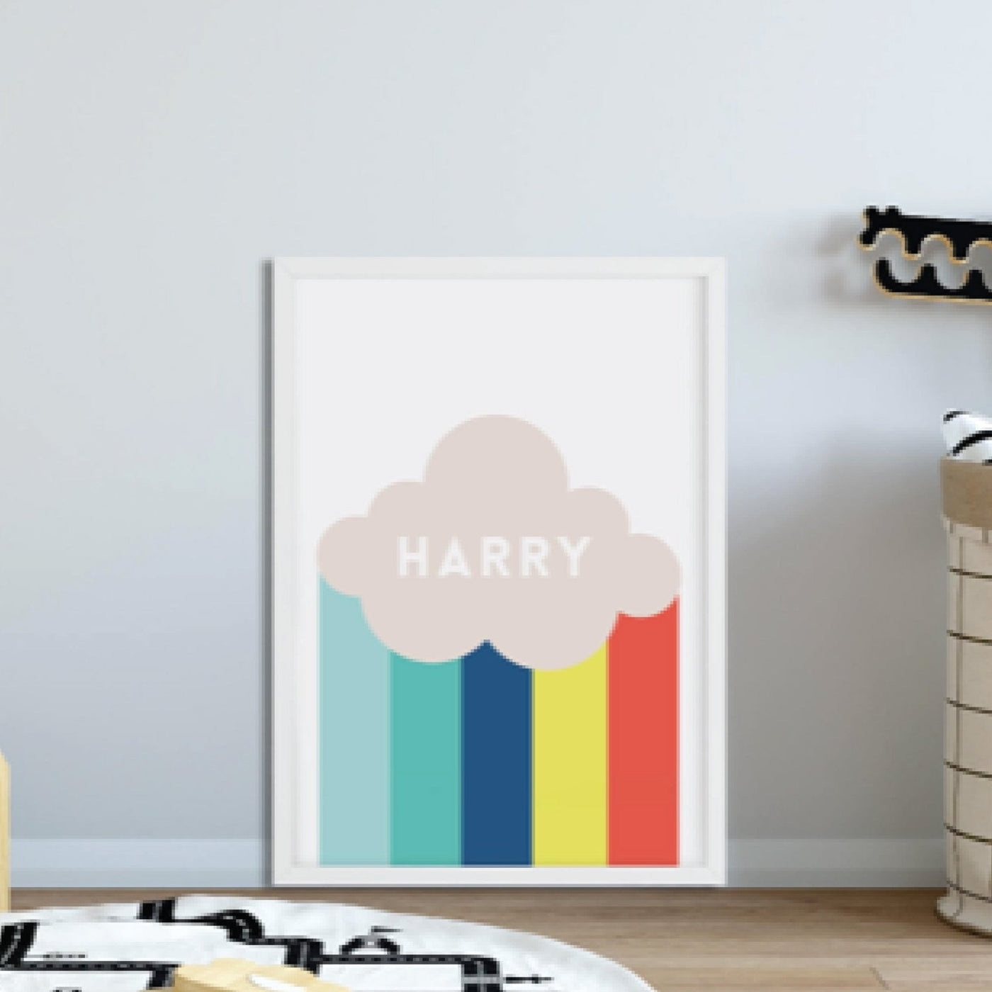 Personalised Scandinavian Rainbow and Cloud Print