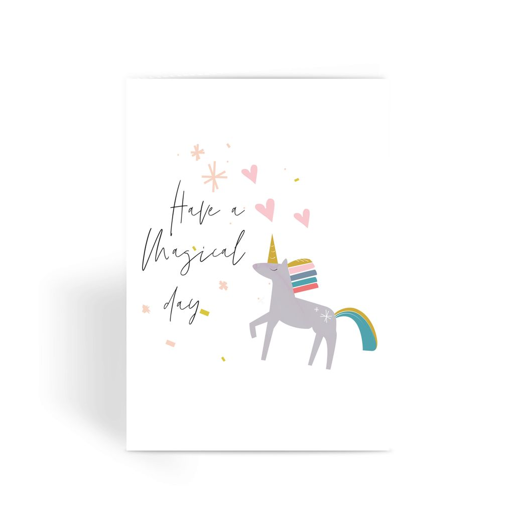 Unicorn Happy Birthday Greeting Card With Stars and Confetti Details