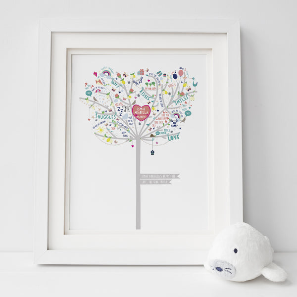Personalised Baby Girl Happiness Tree