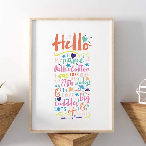 Hello, I Love Lots Of Cuddles And Kisses New Baby Print