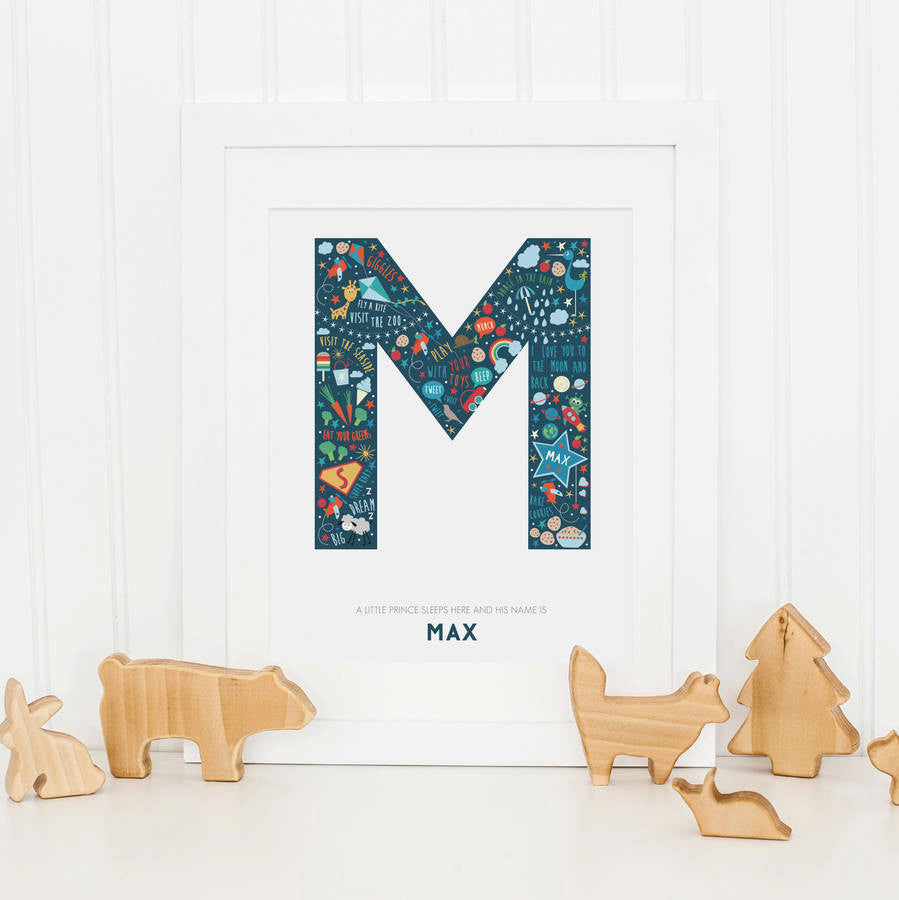 New Baby Boy Happiness Alphabet Nursery Print