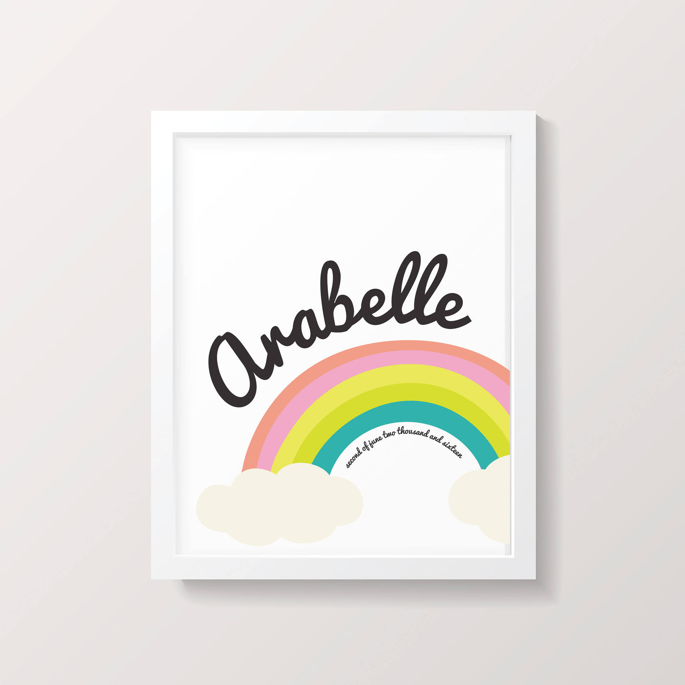Personalised New Baby Rainbow And Cloud Print - Personalised New Baby Rainbow And Cloud Card - New Baby Card and Print Set - Rainbow Decor