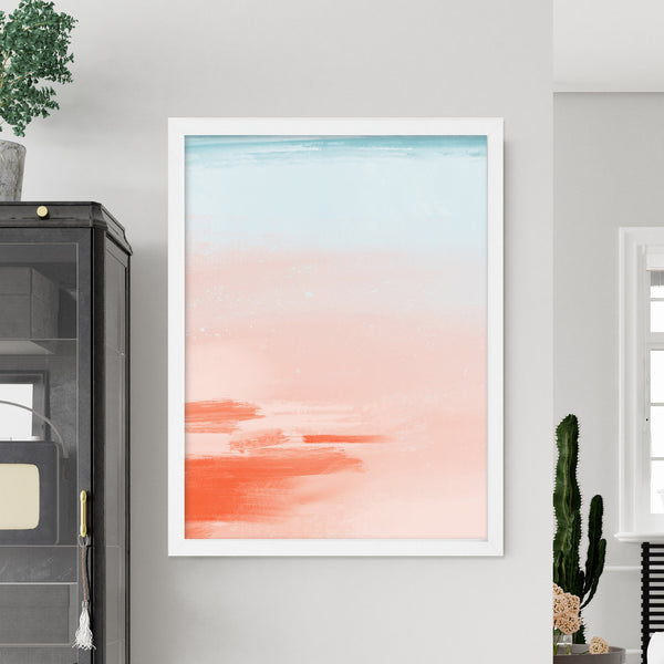 Miami Skies Blush Abstract Art Print