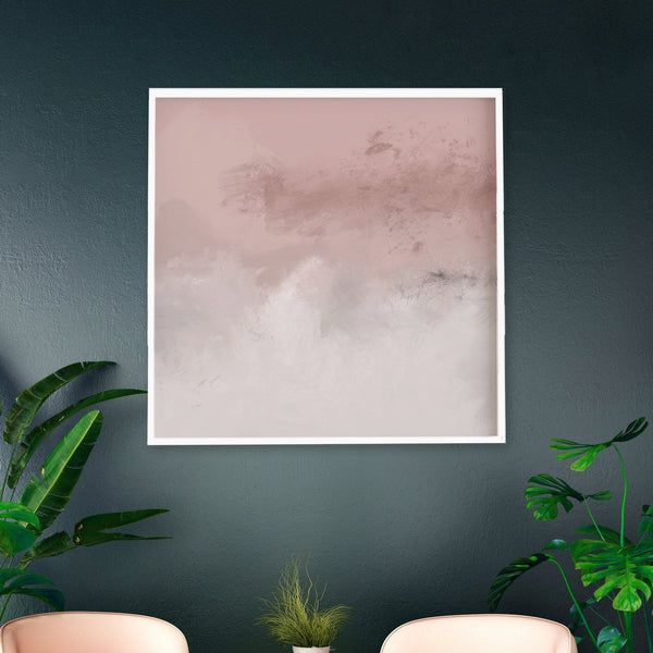 Square Blush Rose Abstract Art Large Wall Art.