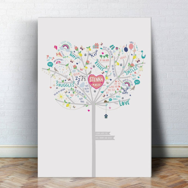 Personalised Baby Girl Happiness Tree Canvas