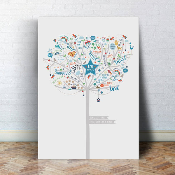 Personalised Baby Boy Happiness Tree Canvas