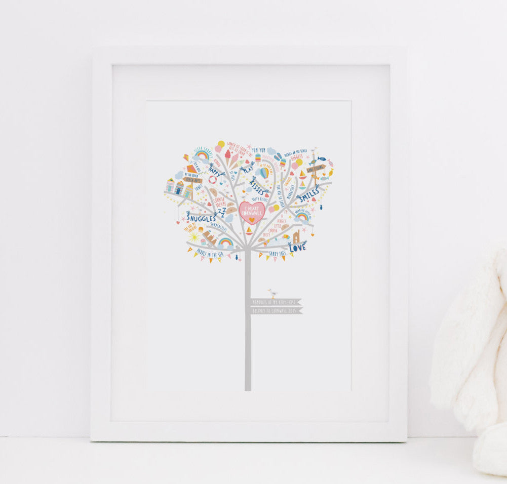 Personalised Baby Girl Cornish Happiness Tree