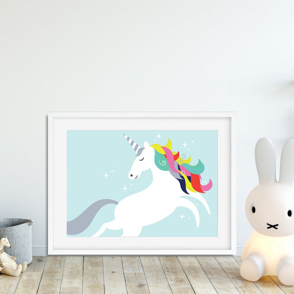 Unicorn with rainbow locks