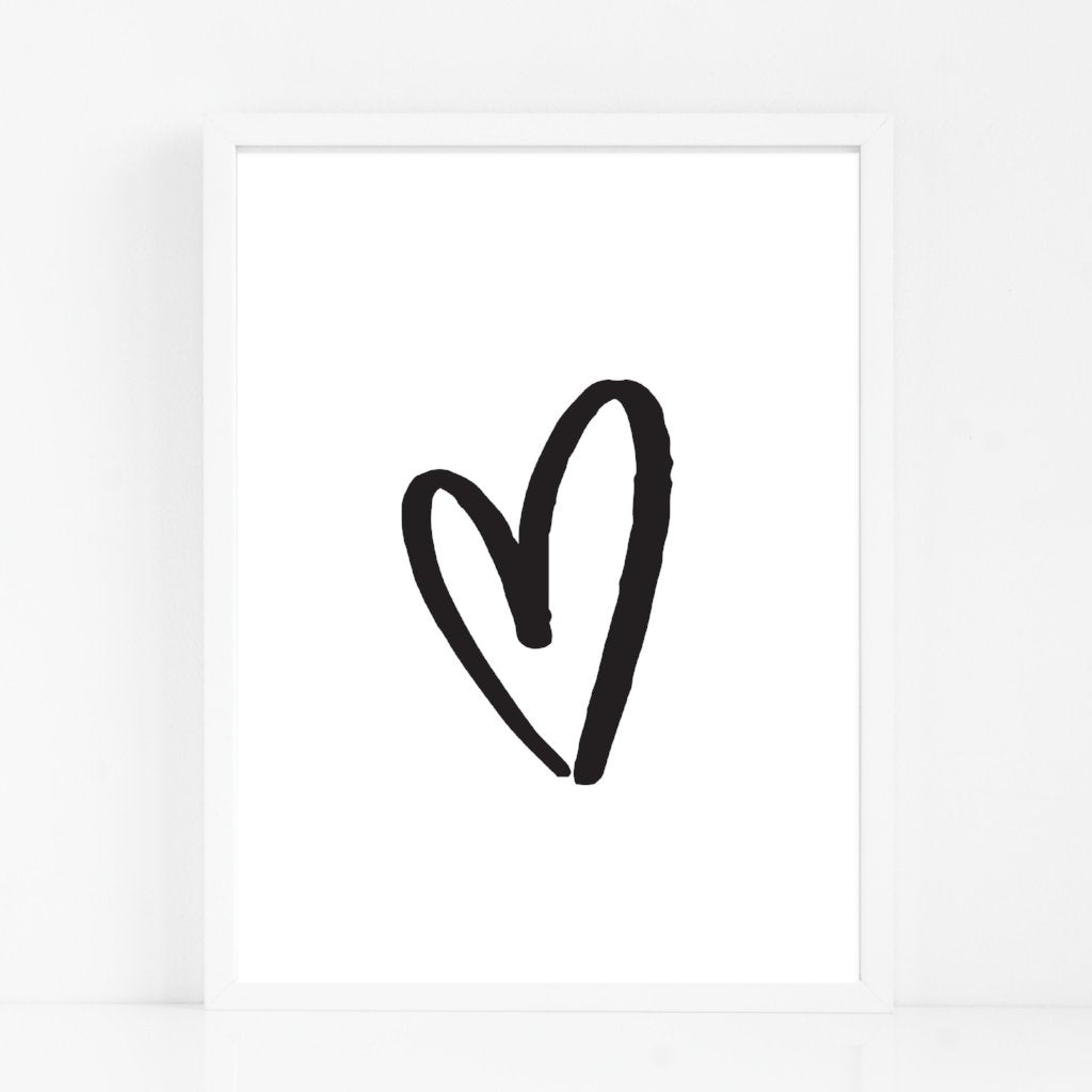 hand drawn love heart print