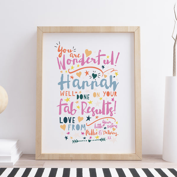 Personalised You Are Wonderful Well Done On Your Results Print