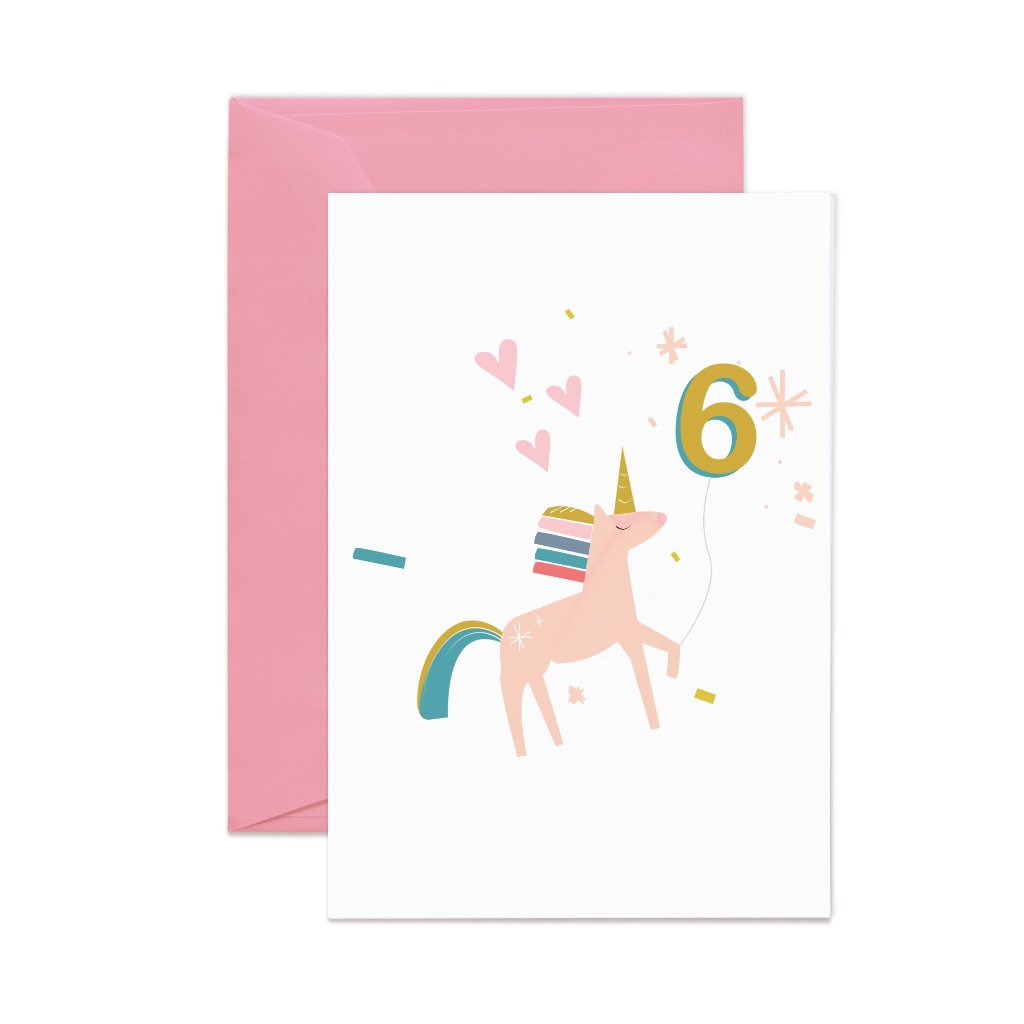 Girls Unicorn Birthday Card With Number 6 Balloon