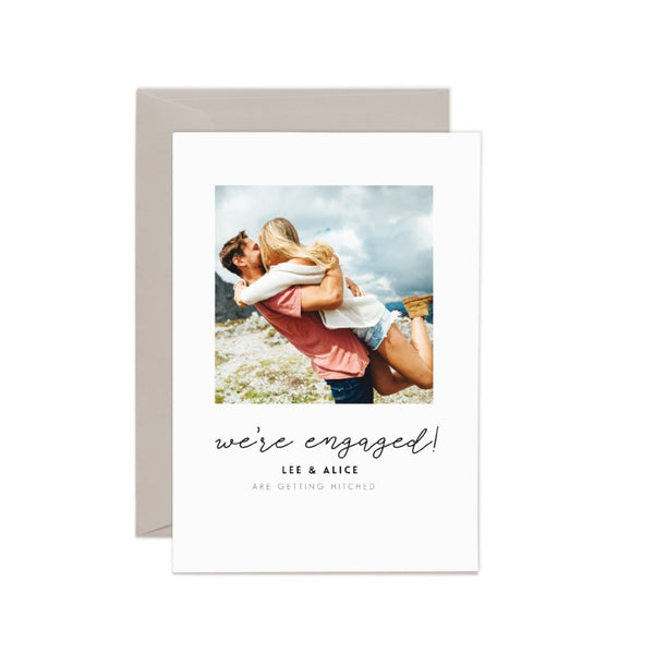 'Alice' We're engaged announcement card.