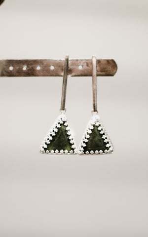 Pounamu Pyramid Earrings