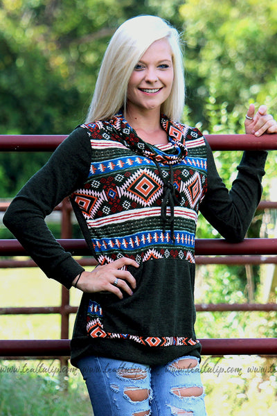 MAKE IT EASY AZTEC COWL NECK PULLOVER IN OLIVE - The Teal Tulip - www.tealtulip.com