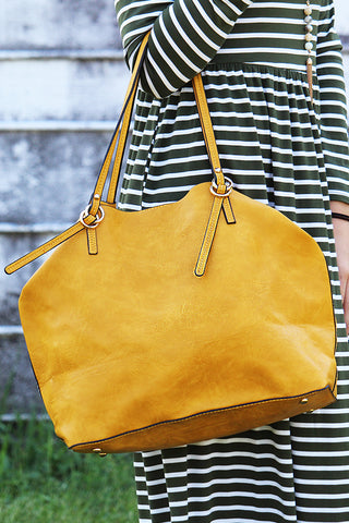 READY TO FALL MUSTARD (VEGAN) LEATHER TOTE BAG WITH GRAB BAG - The Teal Tulip - www.tealtulip.com
