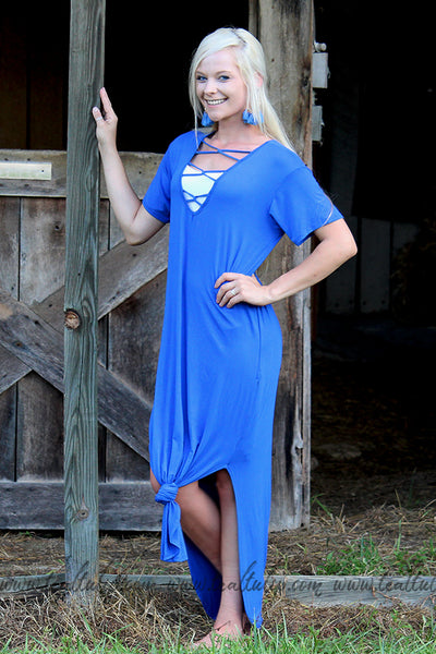 CROSS MY HEART SHORT SLEEVE ROYAL BLUE MAXI DRESS - The Teal Tulip - www.tealtulip.com