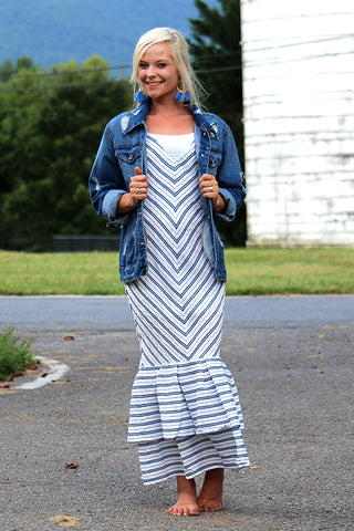 MERMAID VIBES BLUE STRIPED DRESS - The Teal Tulip - www.tealtulip.com