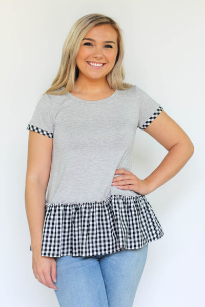 GINGER GINGHAM PEPLUM TOP - The Teal Tulip - www.tealtulip.com