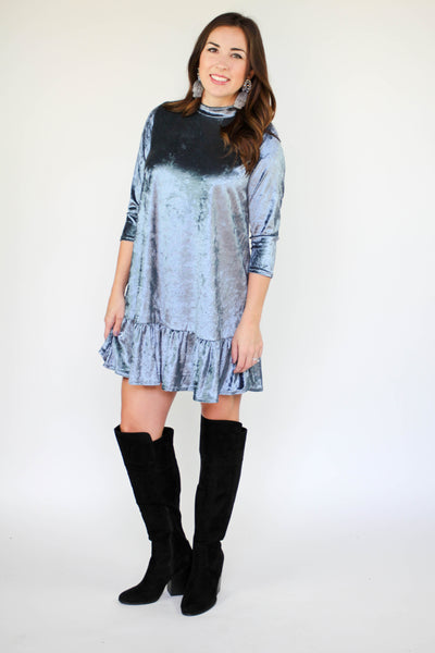 VELVET MOCK NECK DRESS - The Teal Tulip - www.tealtulip.com