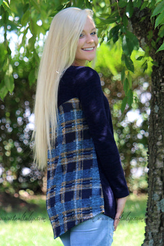 FEELING THE FALL CHECKERED PLAID BACK & POCKET LONG SLEEVE TOP IN NAVY - The Teal Tulip - www.tealtulip.com