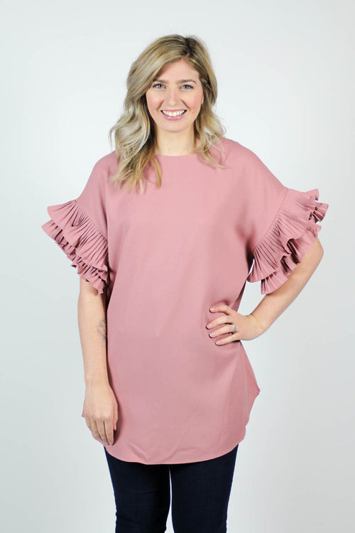 RUFFLE SLEEVE TUNIC - The Teal Tulip - www.tealtulip.com