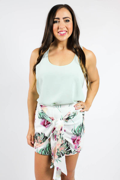 FLORAL TIE SKIRT SHORTS - The Teal Tulip - www.tealtulip.com