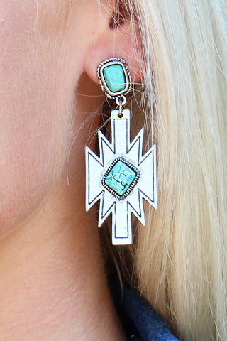 WESTERN AZTEC NATURAL STONE EARRINGS - The Teal Tulip - www.tealtulip.com