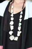 DOWN TO EARTH NATURAL STONE SLAB NECKLACE WITH LEATHER TASSEL - The Teal Tulip - www.tealtulip.com