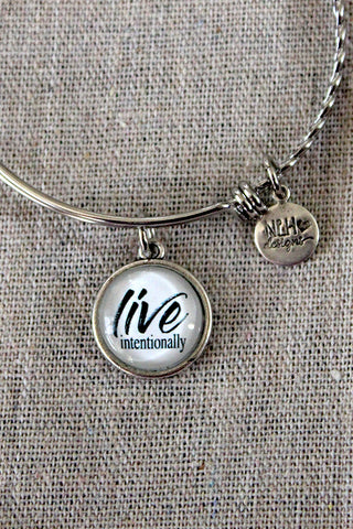 """LIVE INTENTIONALLY"" BANGLE BRACELET - The Teal Tulip - www.tealtulip.com"
