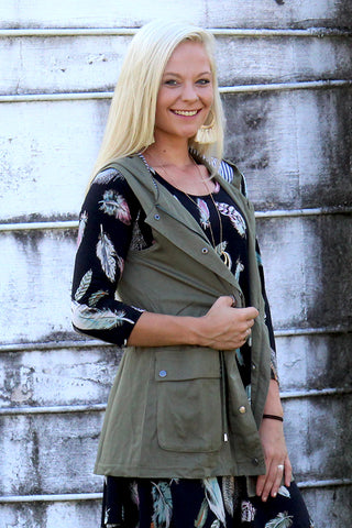 OWNING IT DRAWSTRING HOODED VEST IN OLIVE - The Teal Tulip - www.tealtulip.com
