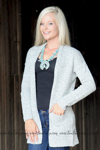 ON THE RUN SWEATER CARDIGAN IN HEATHER GREY - The Teal Tulip - www.tealtulip.com