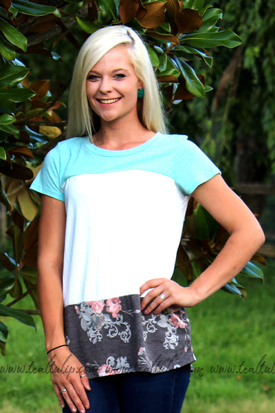 DREAMING OF YOU FLORAL TEE IN TEAL - The Teal Tulip - www.tealtulip.com