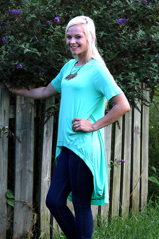 ILL FLY AWAY TEAL HIGH LOW SHIRT - The Teal Tulip - www.tealtulip.com
