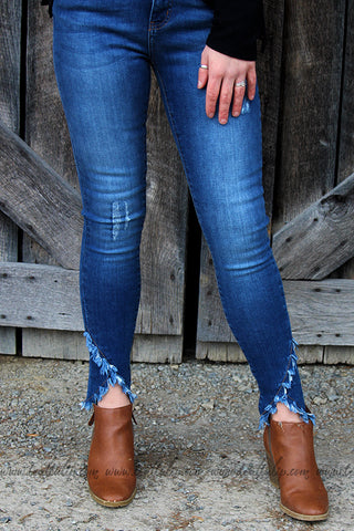 ZOEY DARK WASH DISTRESSED CRISS-CROSS HEM JEANS - The Teal Tulip - www.tealtulip.com