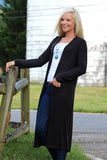 SIMPLY ME LONG CARDIGAN IN BLACK - The Teal Tulip - www.tealtulip.com