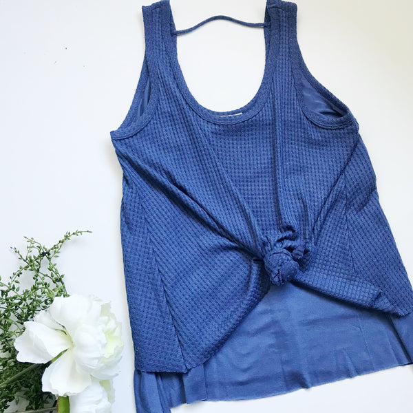 Navy Waffle Tank - The Teal Tulip - www.tealtulip.com