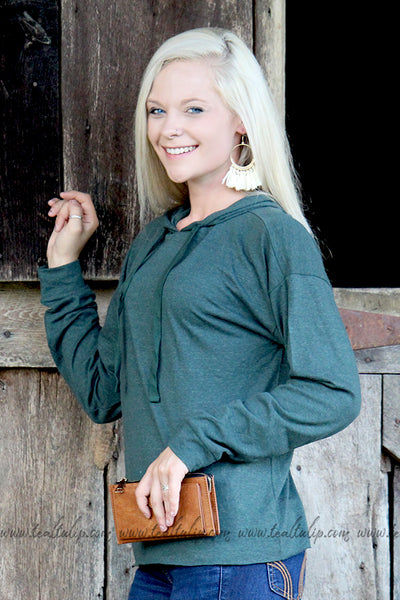 EASY COME LONG SLEEVE HOODIE IN HEATHER GREEN - The Teal Tulip - www.tealtulip.com