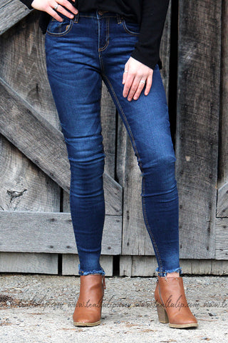 LILY DARK WASH DISTRESSED HEM SKINNY JEANS - The Teal Tulip - www.tealtulip.com