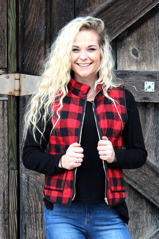 WARM FEELINGS BUFFALO PLAID VEST - The Teal Tulip - www.tealtulip.com