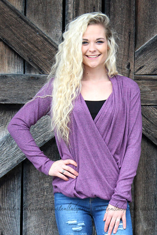 CAUGHT UP CRISS-CROSS V-NECK TOP IN DARK MAUVE - The Teal Tulip - tealtulip.com
