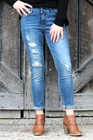 RYLEE MEDIUM WASH BOYFRIEND DISTRESSED JEANS - The Teal Tulip - www.tealtulip.com