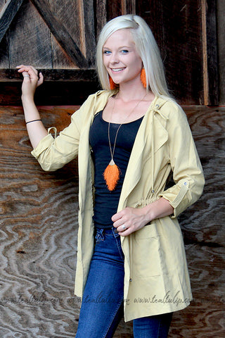 JUST PEACHY DRAWSTRING CARGO JACKET IN MUSTARD - The Teal Tulip - www.tealtulip.com